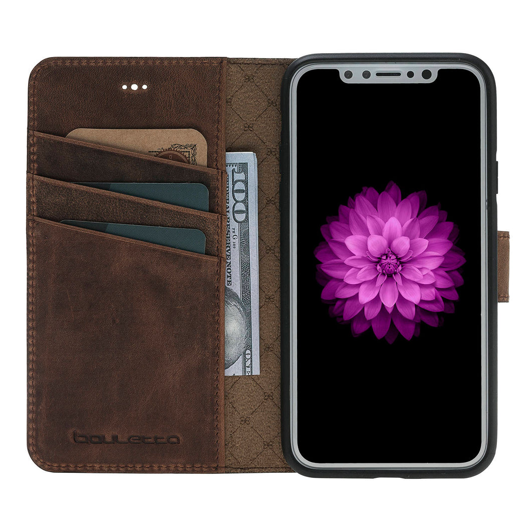 iPhone X Wallet Case, iPhone X Genuine Leather Case with Wallet Style, Perfect for 3+ Cards and Cash, iPhone X Case in AnticBrown