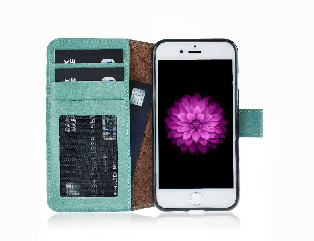 iPhone 8 / 7 Wallet Case, iPhone 8 / 7 Leather Wallet Case with Magnetic Closure, With a Window Part, Limited Amount in BurnishedGreen