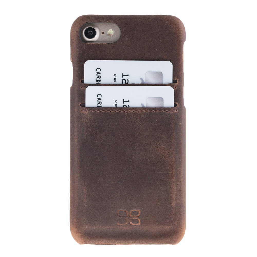 iPhone 7  / 8 Leather Card Case , iPhone 7  / 8 Leather Cover, Perfect to carry Essential Cards in AnticBrown