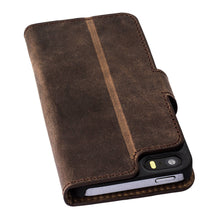 iPhone SE / 5 / 5S Wallet Genuine Leather Case, iPhone SE Wallet Case, Perfect for Essential Cards & Cash, Window style in AnticCoffee