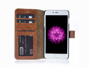 iPhone 8 Plus Wallet Case, iPhone 7 Plus Leather Wallet Case with Magnetic Closure, With a Window Part, Limited Amount in BurnishedTan