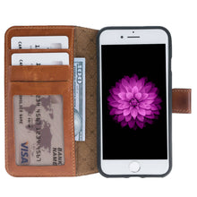 iPhone 8 / 7 Wallet Case, iPhone 8 / 7 Leather Wallet Case with Magnetic Closure, With a Window Part, Limited Amount in BurnishedTan