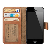 iPhone SE / 5 / 5S Wallet Genuine Leather Case, iPhone SE Leather Wallet Case, Perfect for Essential Cards & Cash, Window style in RusticTan