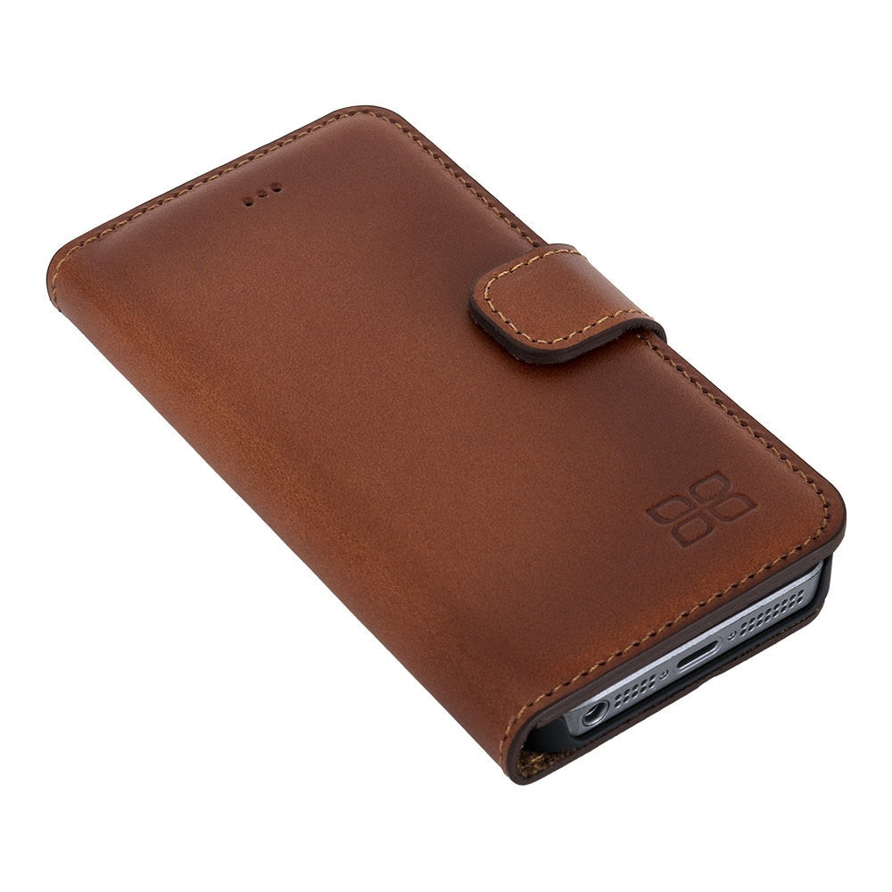iPhone SE / 5 / 5S Wallet Case, iPhone SE Leather Case, Se Best Leather Case, Perfect for Essential Cards and Cash, in BurntTan Leather