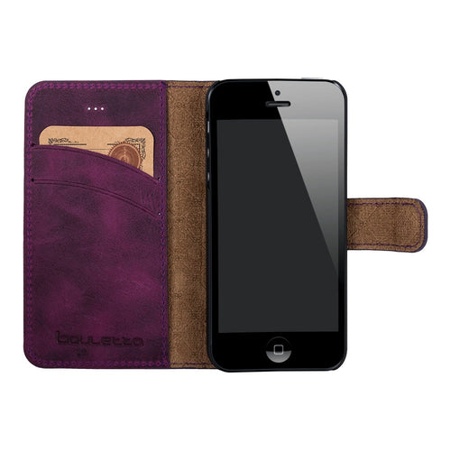 iPhone SE / 5 / 5S Wallet Case, iPhone SE 5S Leather Case, Se Best Leather Wallet Case, Perfect for Essential Cards and Cash, in AnticPurple