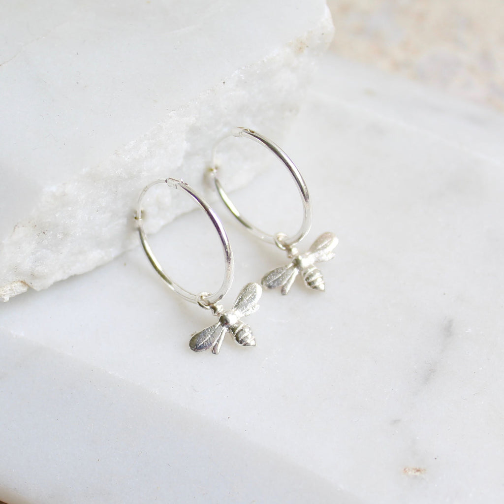 Silver bee hoop earrings