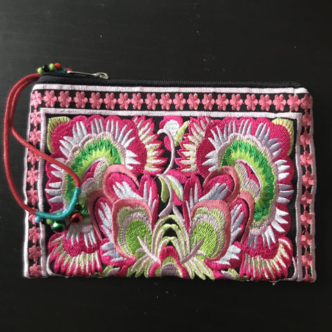 Floral Embroidered purse  - medium