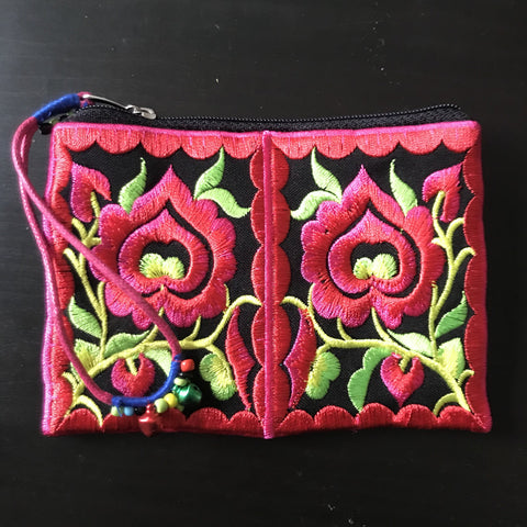 Floral Embroidered purse  - small