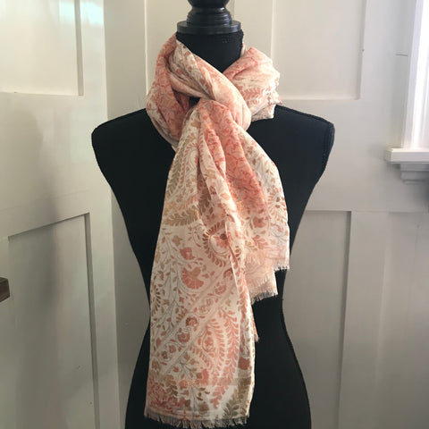 Pink Paisley Floral Scarf