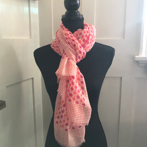 Pink Red Polka Dot Scarf