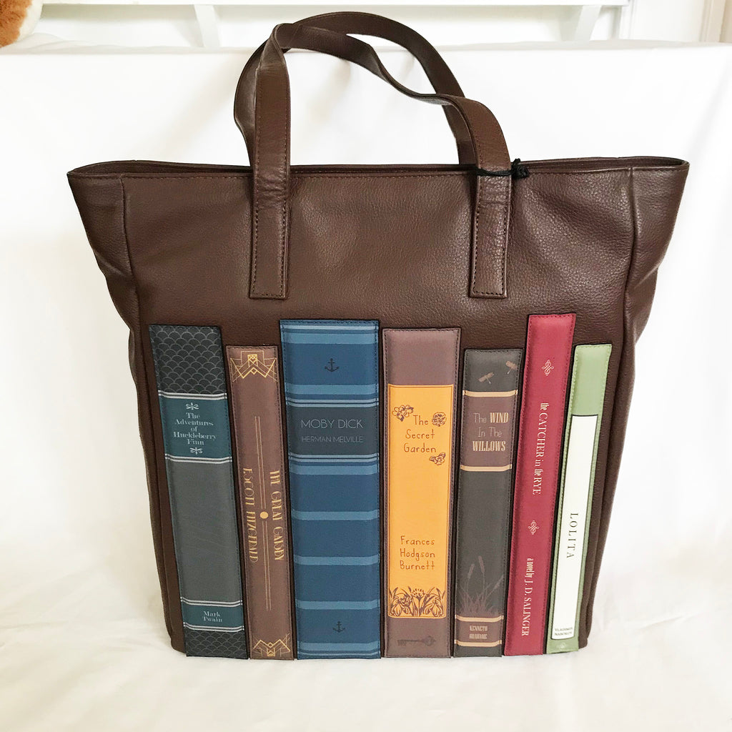 Shelf of books large leather shopper bag
