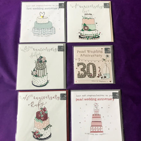 Cards - Anniversary 1st, 25th, 30th, 40th