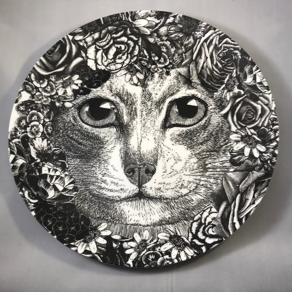 Cat with Flowers Plate