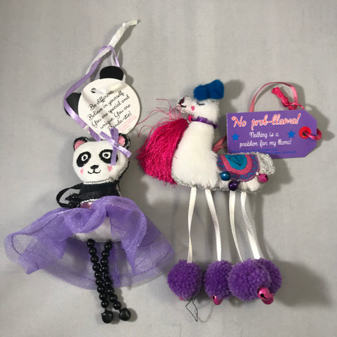 Llamas and Panda Charms with message