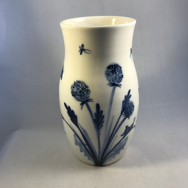 Blue and White Bees and Lavender Vase
