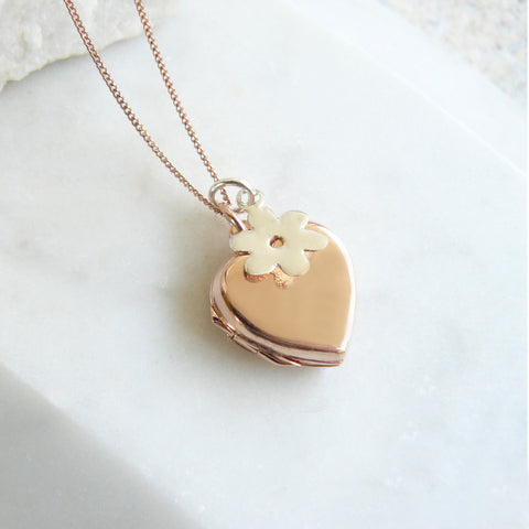 Rose Gold Heart Locket with Flower