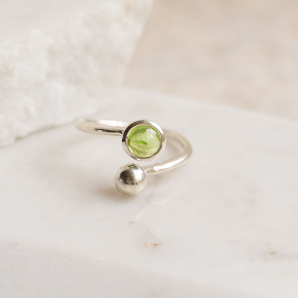 Silver ring with birthstone