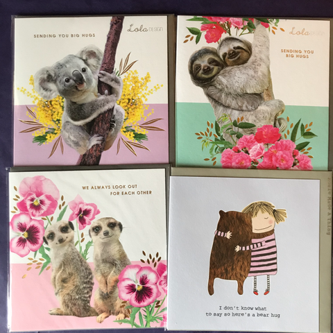 Hug cards, Koalas, Meerkats, Sloths and Bears