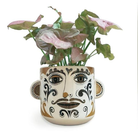 Cream Gold Face Plant Pot