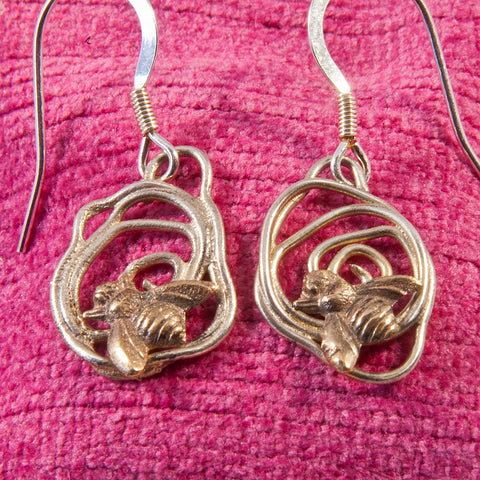 Woodland Silver Small Bee Earrings