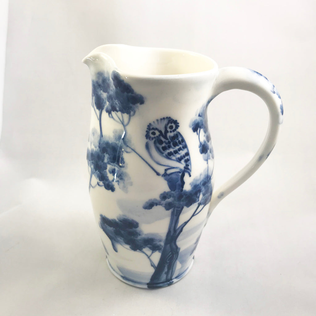 Blue and White Owl Jug