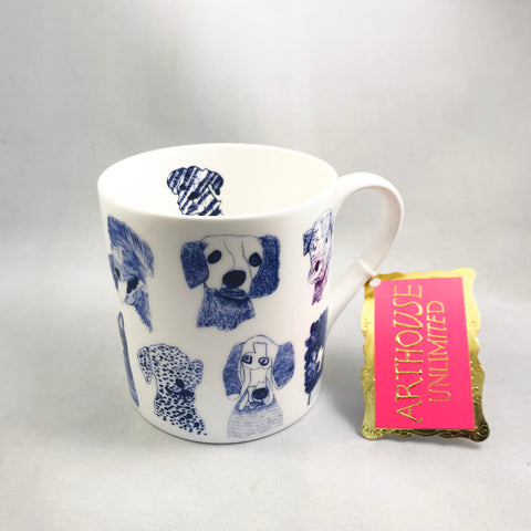 Mug or Egg cup with Blue Dogs