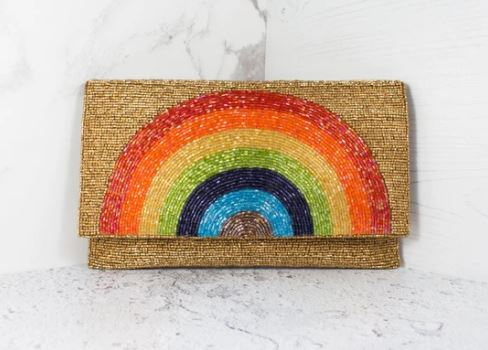 Rainbow Beaded Clutch Bag