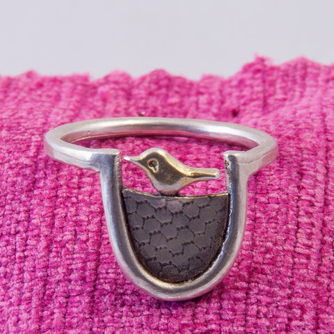 Woodland Silver Scandi Bird Ring