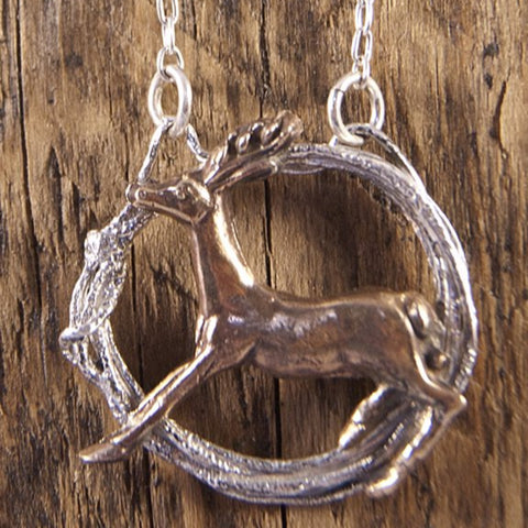 Woodland Silver Stag in a Hoop Necklace