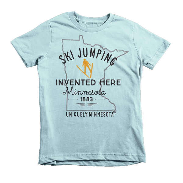 The Shop at Uniquely Minnesota light blue kids Ski Jumping Invented in Minnesota t-shirt 100% cotton.