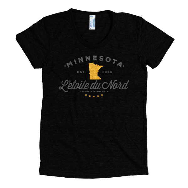 "Minnesota L'etoile Du Nord ""Star of the North"" logo women's shirt in tri-black with grey logo."