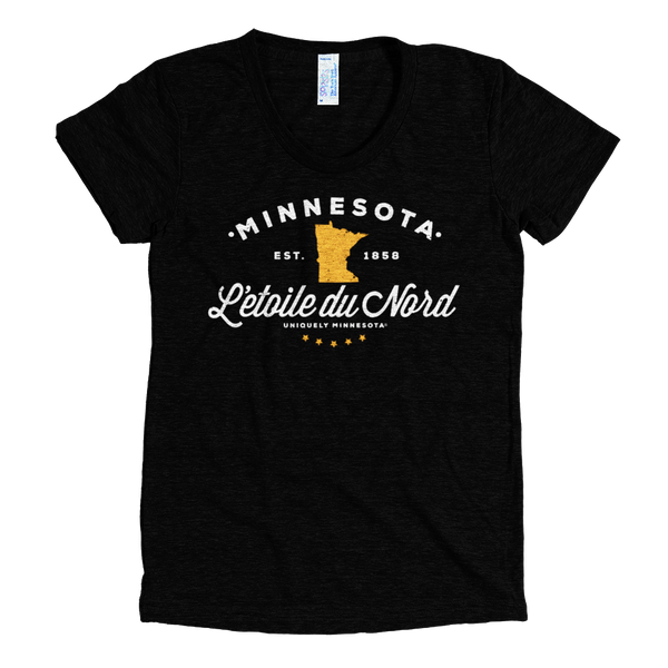 "Minnesota L'etoile Du Nord ""Star of the North"" logo women's shirt in tri-black with white logo."