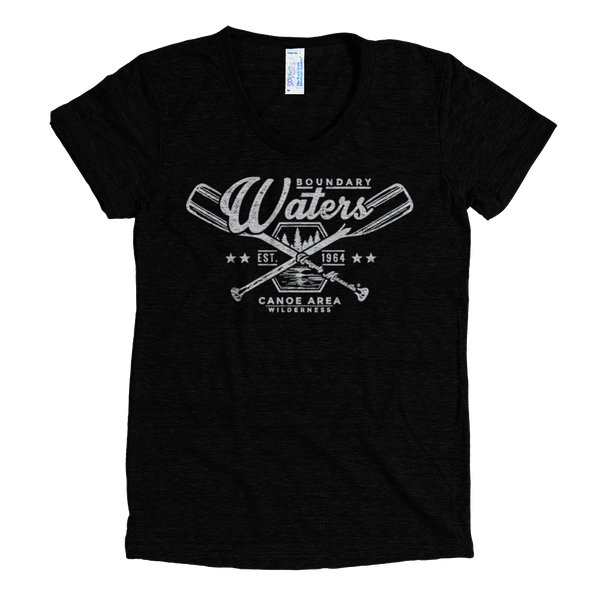 Boundary Waters MN women's shirt in tri-black with grey logo.