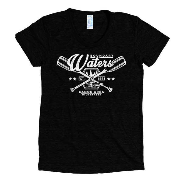 Boundary Waters MN women's shirt in tri-black with white logo.