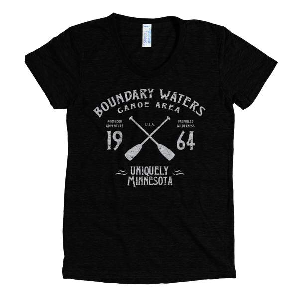 Boundary Waters MN vintage style women's shirt in tri-black with white logo.