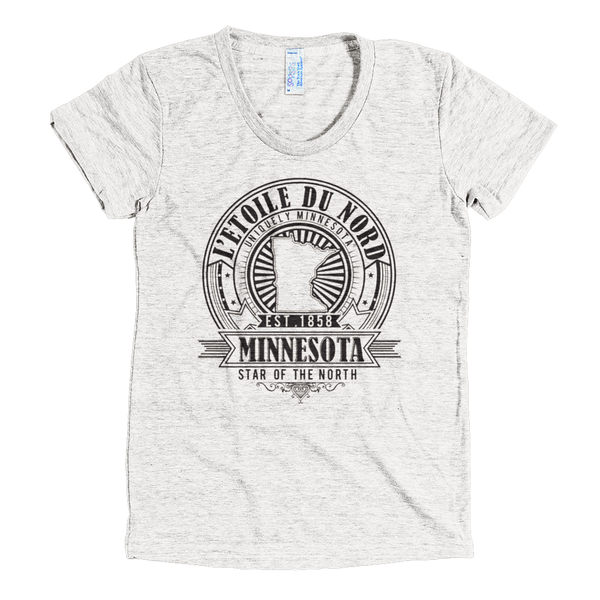 "Minnesota L'etoile du Nord ""North Star"" women's shirt in tri-oatmeal with black logo."