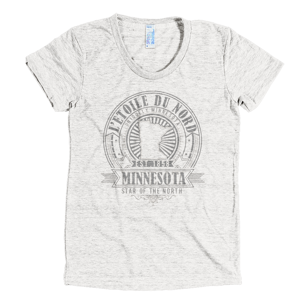 "Minnesota L'etoile du Nord ""North Star"" women's shirt in tri-oatmeal with grey logo."