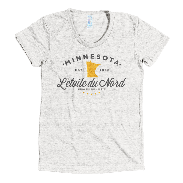 "Minnesota L'etoile Du Nord ""Star of the North"" logo women's shirt in tri-oatmeal with grey logo."