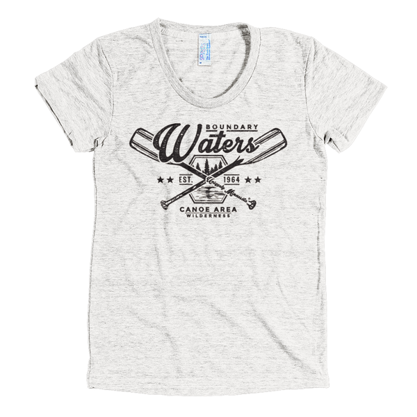 Boundary Waters MN women's shirt in tri-oatmeal with black logo.