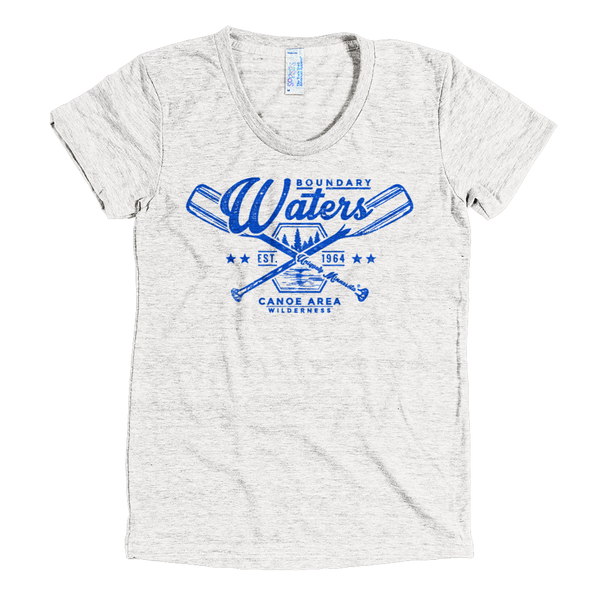 Boundary Waters MN women's shirt in tri-oatmeal with blue logo.