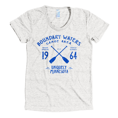 Boundary Waters MN vintage style women's shirt in tri-oatmeal with blue logo.