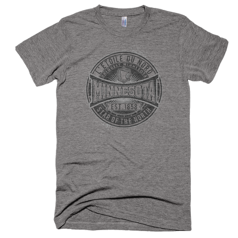 "Minnesota L'etoile du Nord ""Star of the North"" men's shirt in athletic grey black logo."