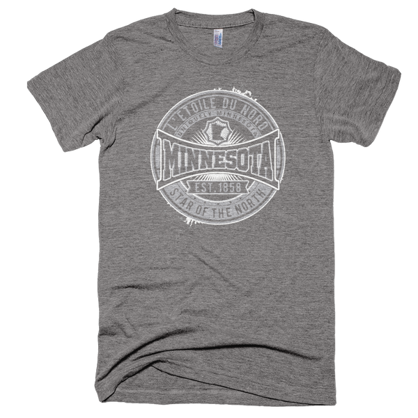 "Minnesota L'etoile du Nord ""Star of the North"" men's shirt in athletic grey white logo."