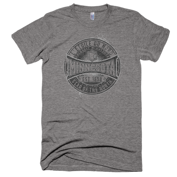 Minnesota L'etoile du Nord state motto men's shirt on super soft grey shirt with black logo.