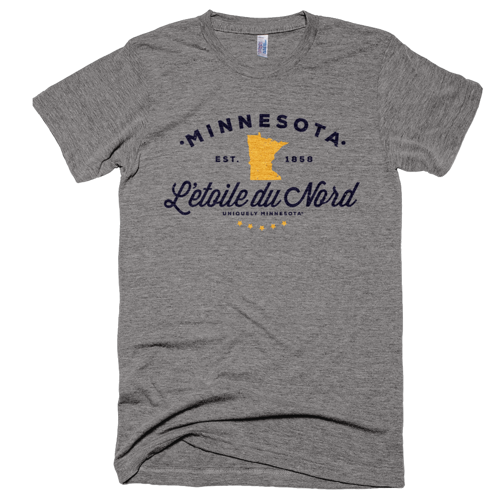 Men's Minnesota L'etoile du Nord state motto logo shirt on grey shirt with black logo.