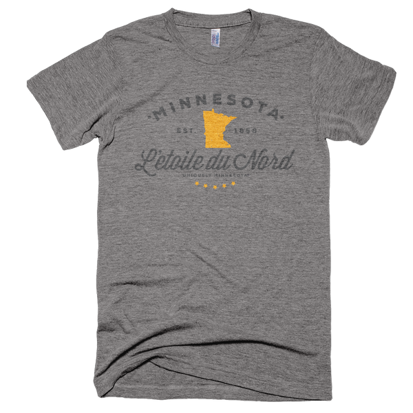 Men's Minnesota L'etoile du Nord state motto logo shirt on grey shirt with grey logo.