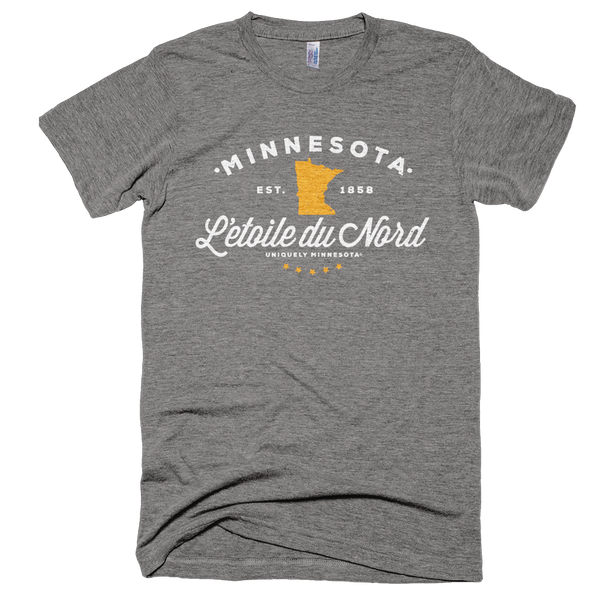 Men's Minnesota L'etoile du Nord state motto logo shirt on grey shirt with white logo.