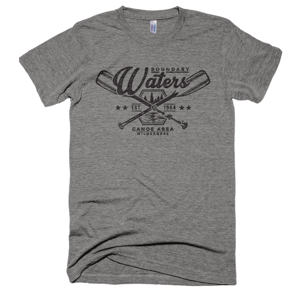 Men's athletic gray Boundary Waters crossed-paddle shirt with black distressed design in soft American Apparel tri-blend.