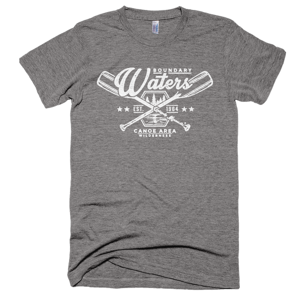 Men's athletic gray Boundary Waters crossed-paddle shirt with white distressed design in soft American Apparel tri-blend.