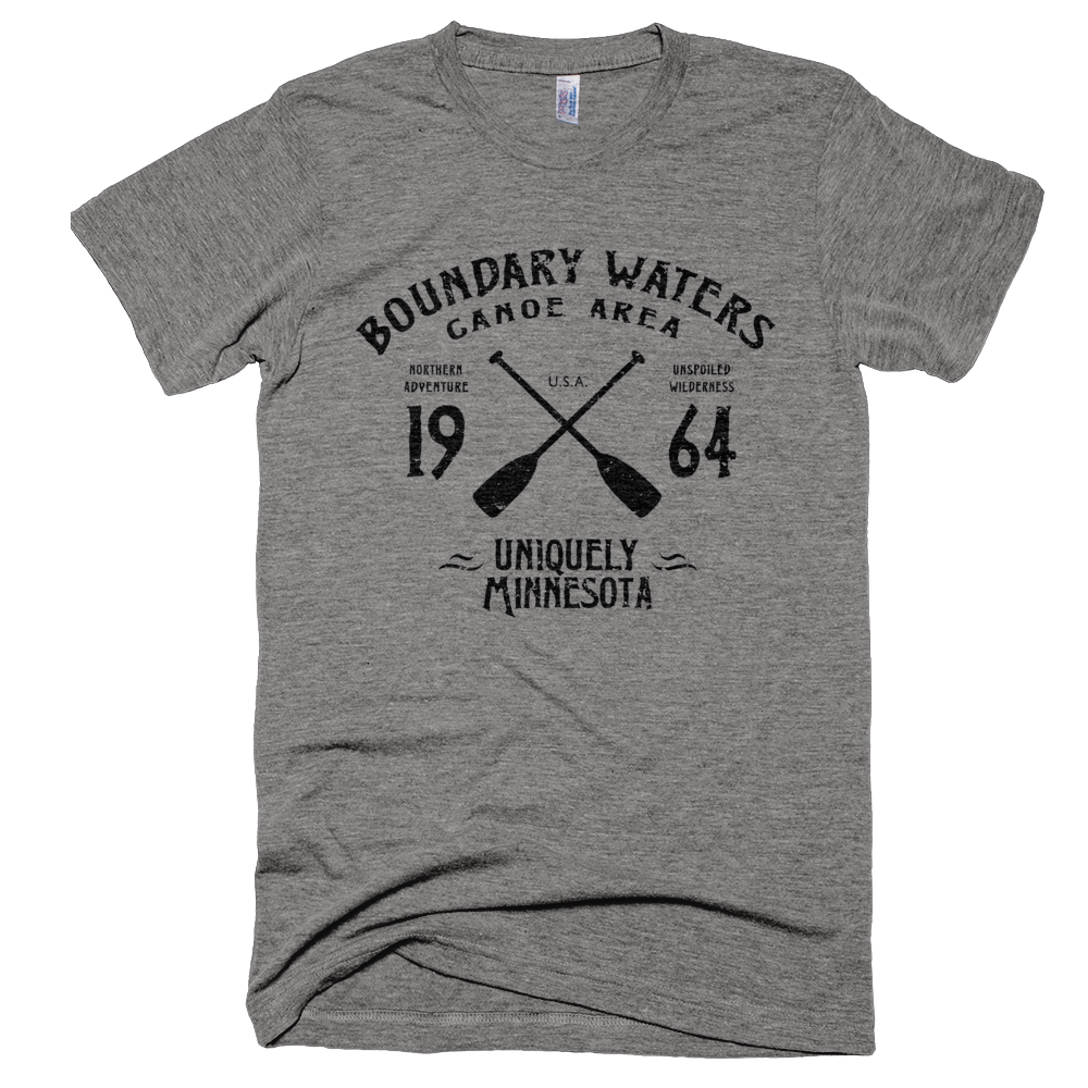 Boundary Waters MN vintage style men's shirt in athletic grey with black logo.